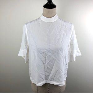 Equipment Benton Silk Shirt White Cropped XS